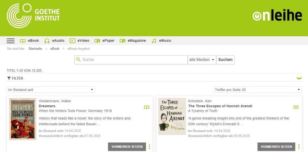 Goethe-Institut disponibiliza gratuitamente mais de 21.000 títulos em biblioteca digital