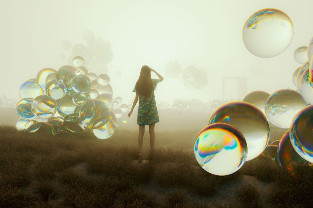 Woman standing and looking in fantasy meadow at sunset. This is entirely 3D generated image.